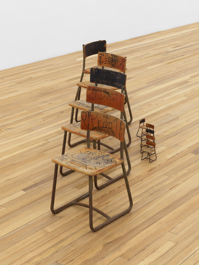 HE XIANGYU Practical Opacity, 2020 Wood, iron, synthetic resin varnish, acrylic paint, Edding marker 5 large chairs: 25 5/8 × 13 3/4 × 17 in (64.9 × 34.9 × 43 cm) each; 5 small chairs: 6 × 3 1/8 × 4 3/8 in (15.1 × 7.9 × 11 cm) each