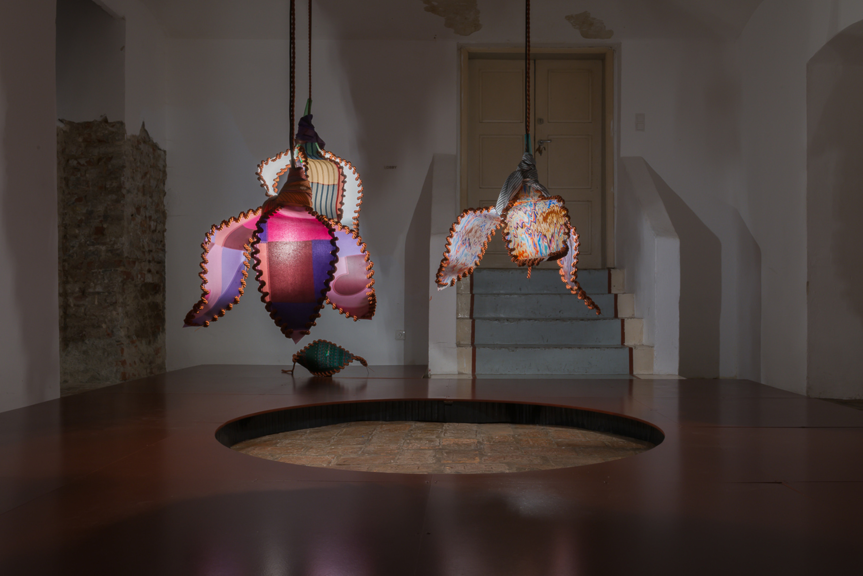 Half-lit World, Michaela Schweighofer: If you're the moon that shines, I am the sun that lights you., silk scarves, glass, robes, metal, electricity, light, 2020