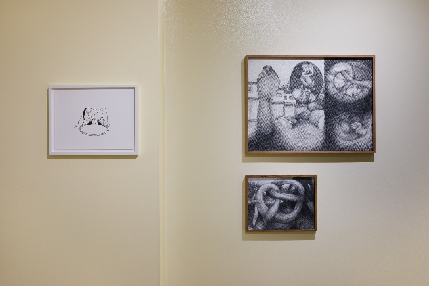 Left: Ebecho Muslimova, Untitled, 2015. Ink on paper. Courtesy of the artist and Michail Pirgelis. Top Right: Till Megerle, The Hussengut, 2016. Charcoal on paper. Courtesy of Christian Andersen, Copenhagen. Bottom right: Till Megerle, The Thug Silhouette, 2017. Charcoal on paper. Courtesy of Christian Andersen, Copenhagen.