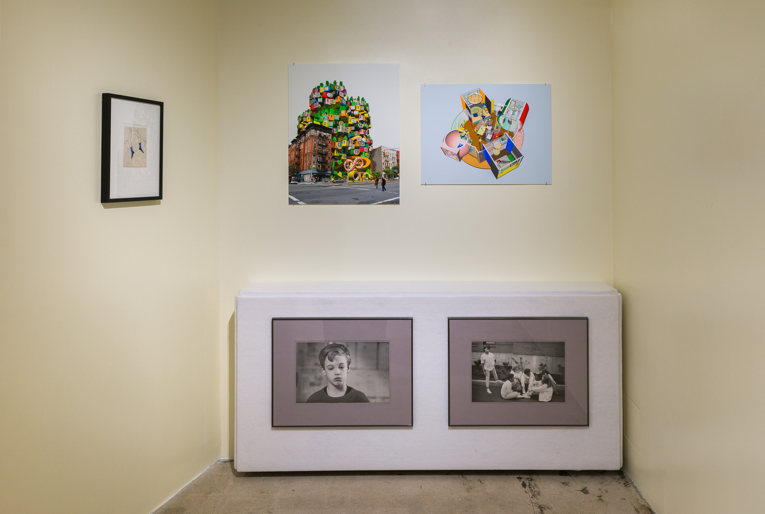 Left: Meret Oppenheim, Untitled, 1936. Paper, pencil, gouache. Courtesy of collection Design Museum Den Bosch/NL. Top left: Arakawa and Madeline gins, Hotel Reversible Destiny—124 West Houston Street, New York. 2006. Digital photomontage © 2008 Estate of Madeline Gins, reproduced with permission of the Estate of Madeline Gins, courtesy of Reversible Destiny Foundation. Top right: Arakawa and Madeline Gins, Reversible Destiny Lofts—Mitaka (In Memory of Helen Keller), 2004. Digital Rendering. © 2019 Estate of Madeline Gins, reproduced with permission of the Estate of Madeline Gins, courtesy of Reversible Destiny Foundation. Bottom: Marc Kokopeli, Untitled, 2019. Framed archival prints, fabric, wood, steel Courtesy of the artist.