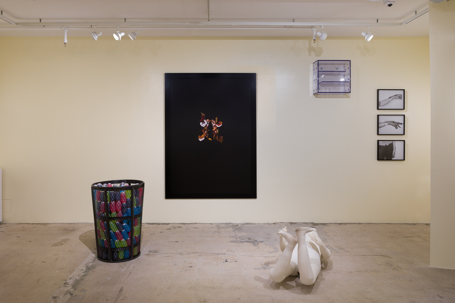 life and limbs, installation view. Far left: Diamond Stingily, Juice Drank, 2018. Trashcan, juice. Courtesy of Christina and Oscar Castellón, Miami. On wall, middle: Gina Folly, Magic Box IV, 2015. Polycarbonate, screws. Courtesy of the artist.