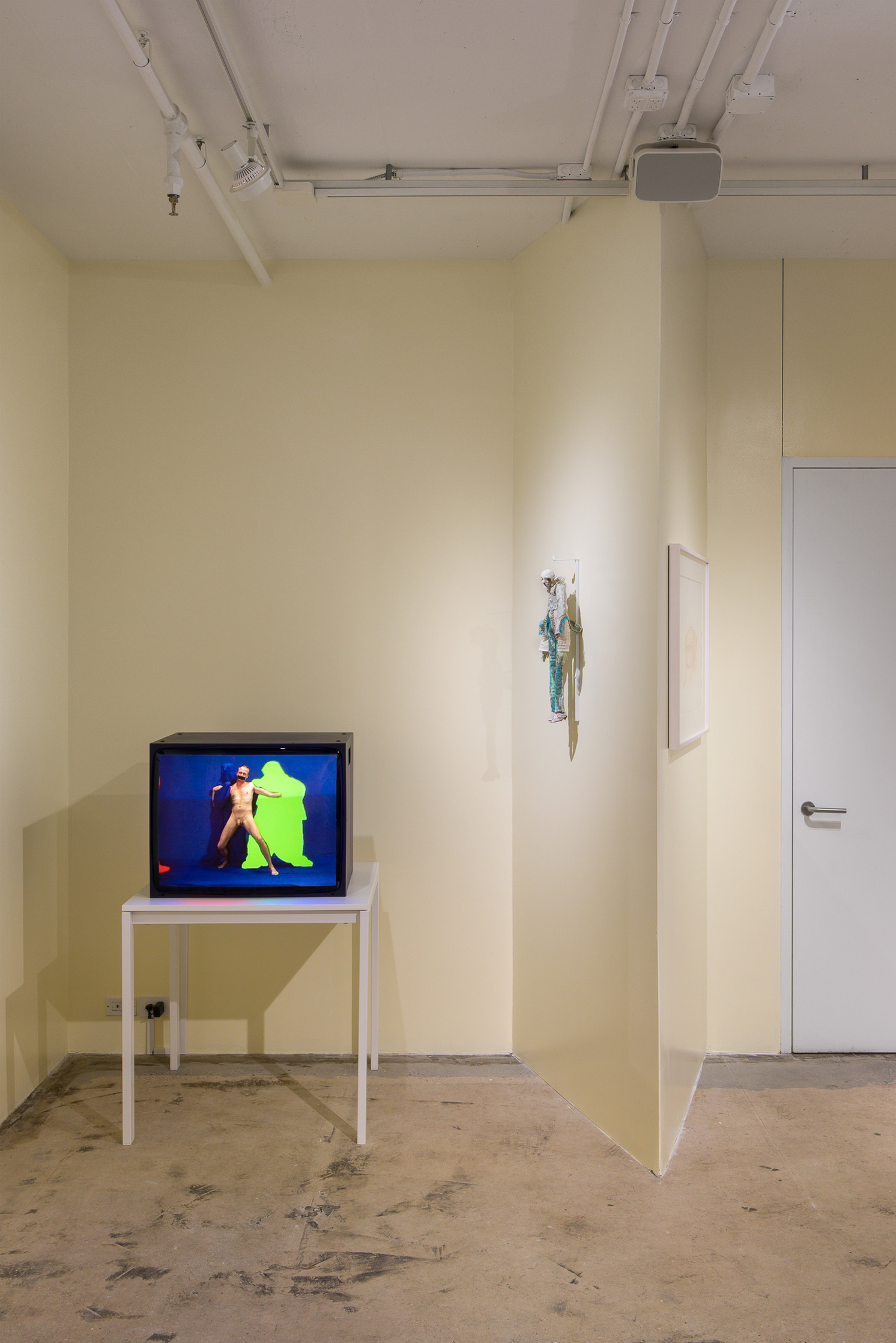 life and limbs, installation view. On monitor: Heimo Zobernig, Nr. 24, 2007. Video, color, no sound. 14 min 22 sec. Courtesy of Petzel Gallery, New York.