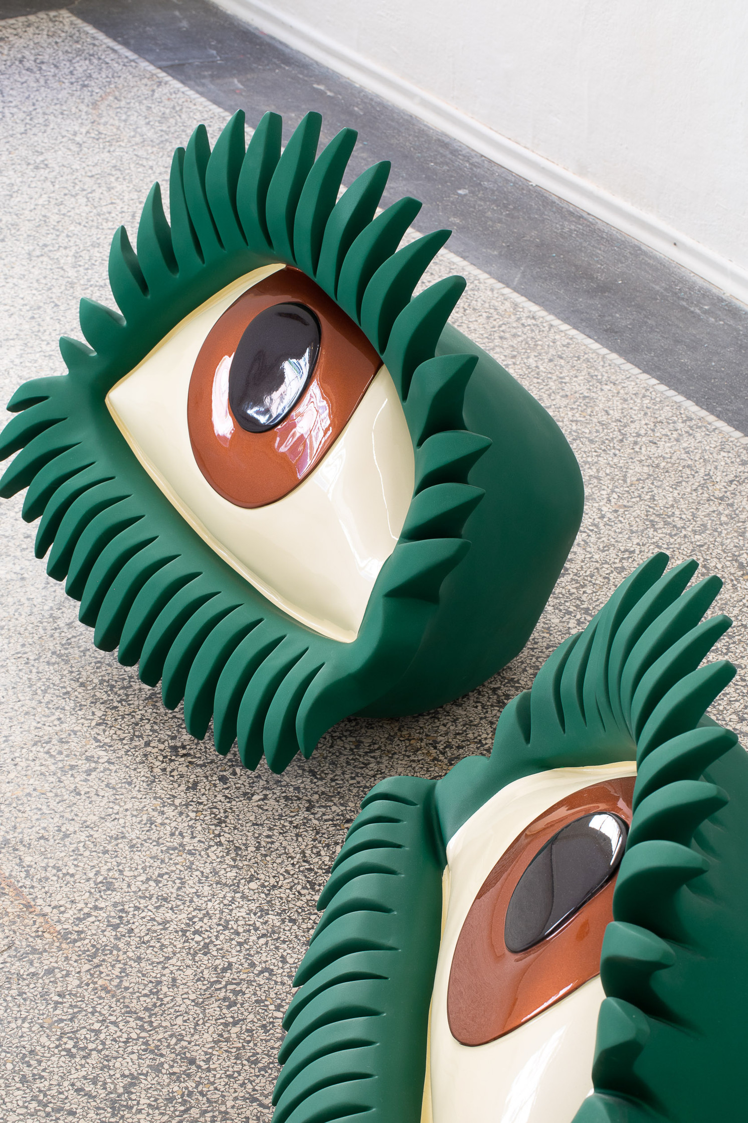 close up of eyes sculpture